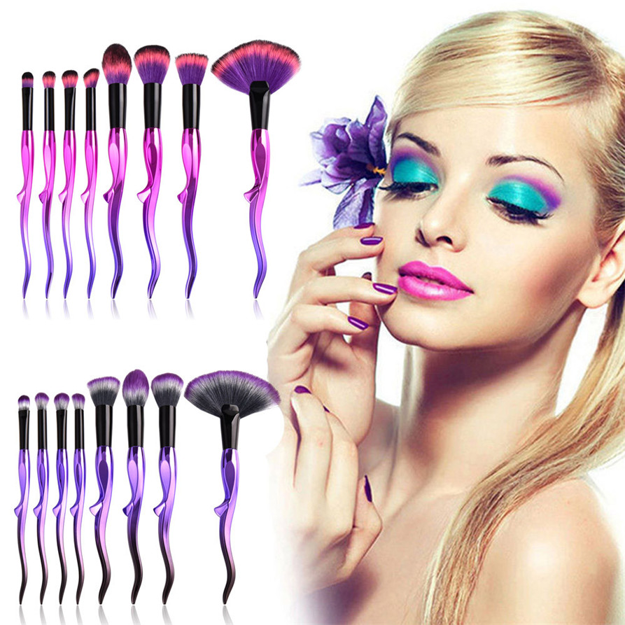 8 x Pro Makeup Brushes Set Foundation Powder Eyeshadow Eyeliner Lip Brush Tool makeup brushes unicorn drop ship 1123 free ship