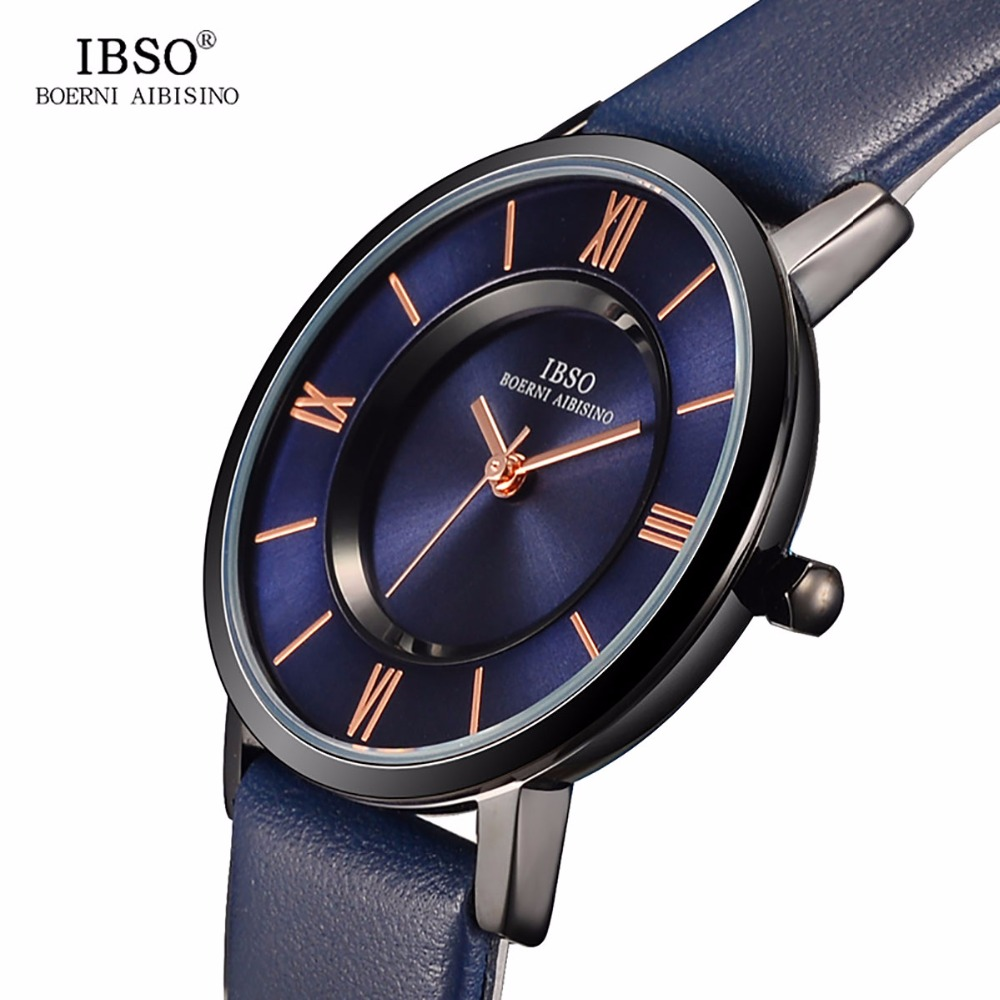 2019 IBSO Fashion Blue Watches Genuine Leather Strap 7MM Ultra Thin Watches for Women Polished Quartz Watches 8281L