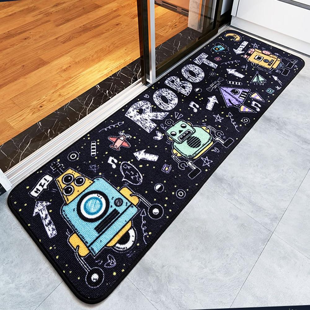Multi Size Black Robot Outer Space Runner Rug Bedroom
