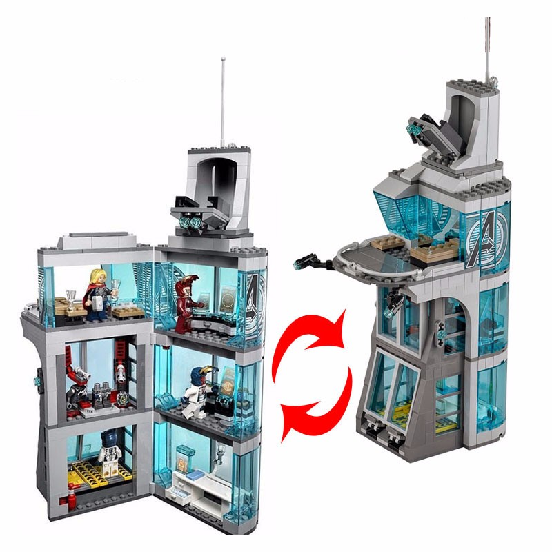 New Superheroes Iron Man Attack Avengers Tower fit legoings avengers figures marvel infinity war Building Block Bricks Toys gift все цены
