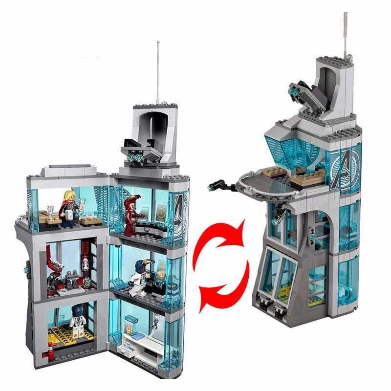 Новые Супергерои Железный человек атака Мстители башня fit legoings Фигурки Мстителей marvel Бесконечность войны строительные блоки кирпичики игрушки подарок