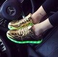 Zapatos de las mujeres de luz led 2016 de la moda con cordones zapatos hombre plana con encaje de goma zapatos baratos solid tamaño grande 4.5-12 superstar