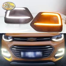 2 шт. светодиодный фонарь дневного света для Chevrolet Trax желтый сигнал поворота функция 12 В автомобиля DRL противотуманная фара украшение