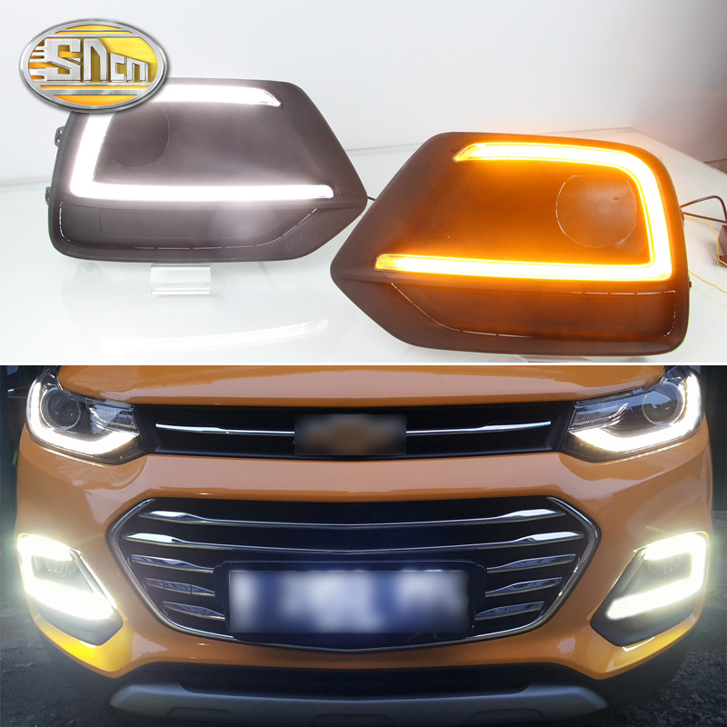 2PCS LED Daytime Running Light For Chevrolet Trax 2017 2018 Yellow Turn Signal Function 12V Car DRL Fog Lamp Decoration