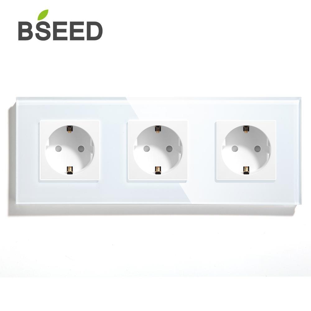 BSEED Mvava бренд тройной гнездо питания стандарта ЕС белого и черного цвета с золотыми с украшением в виде кристаллов Стекло Панель 110-240V 16A элек...