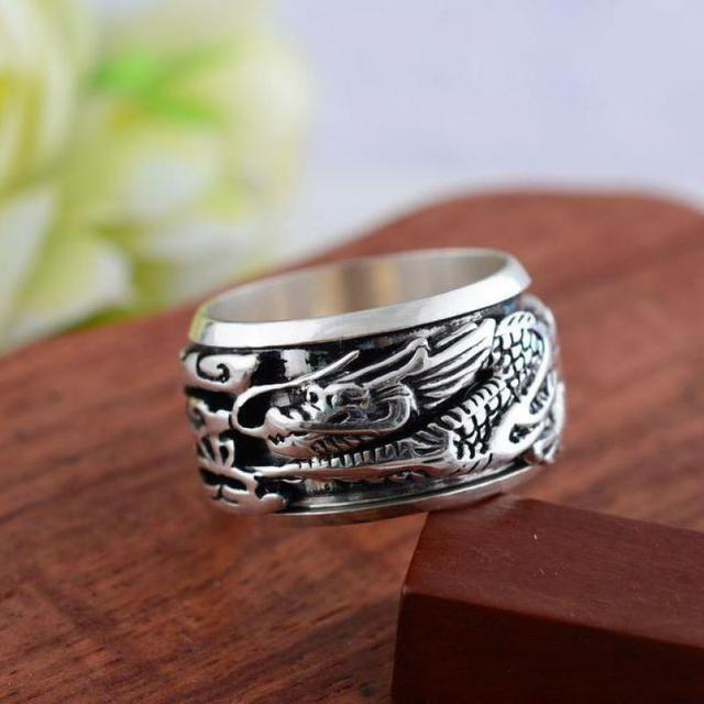 New Arrivals 2016 Rings Dragon Ring For Men Silver 925 Sterling Jewelry Wide Domineering Mens Ring