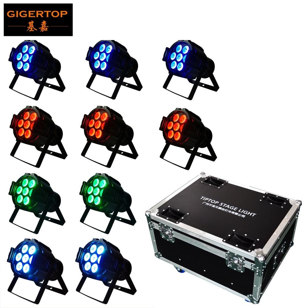 10IN1 Flightcase Pack Flat Slim 7 x 10W Quad Color LED RGBW Par Can DMX PAR stage lighting, DMX control led lamps, DJ equipment chauvet dj slim par quad 3 irc