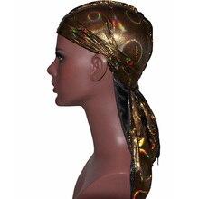 Модные мужские Durag банданы в стиле хип-хоп кепки, тюрбан шляпа шнуровка шелковистая эластичный ободок Атлас Du-rag длинный хвост головные уборы для женщин
