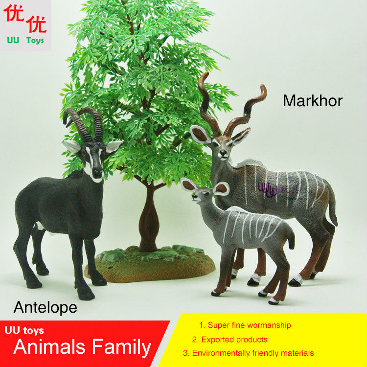 Hot toys: Markhor plus Baby Markhor and Black Gazelle (Antelope) Simulation model Animals kids toys Action Figures