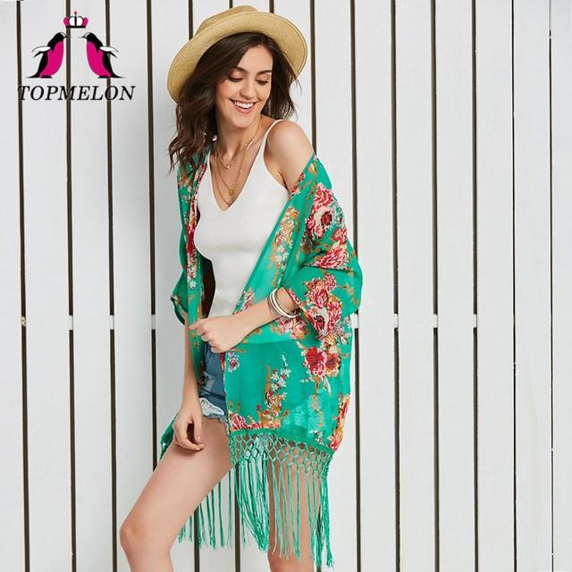 33de75096a TOPMELON Swimwear Swimsuit Cover Up Tunic Pareo Beach Floral Print Vacation  Cape Beachwear Tassel Women Outdoor Shirt Cover Up