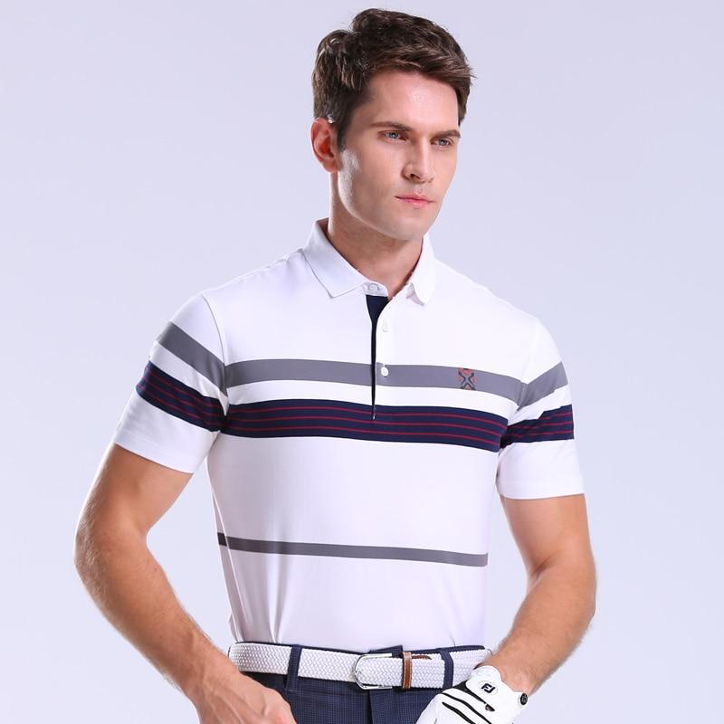 2018 Mens Golf Shirt Short sleeve Sportswear Golf Apparel 2 Colors Golf clothes S-XXL Men Jersey Golf Wear Shirt Striped tops white strip short sleeve men s cotton men s polo shirt