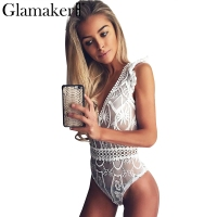 Glamaker Sexy White Mesh Bodysuit Women Tops Transparent Summer Jumpsuit Romper Fitness V Neck Hollow Out