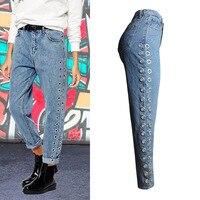 KL861 Women boyfriend casual loose fashion distinctive high waist jeans side hollow out design denim pants