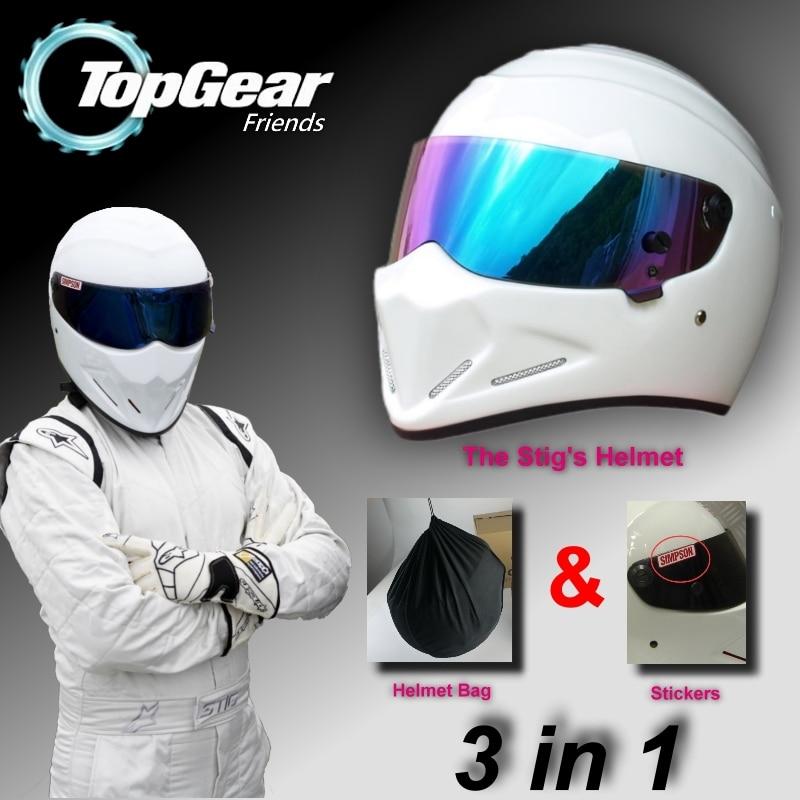 For TopGear The STIG Helmet Capacete Casco De / Bag + SIMPSON Sticker For Gifts / White Moto Helmet With Colorful Visor Racing