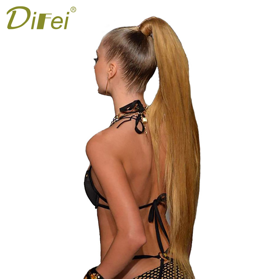 DIFEI Long Straight Ponytail Synthetic Wrap Around Ponytail Hair Extensions High Temperature Fiber Clip-in Hairpieces