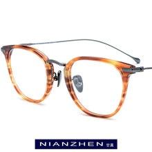 091bbe6352ab Titanium Acetate Glasses Frame Men Myopia Optical Prescription Eye Glasses  for Women Square Eyeglasses Spectacles Eyewear