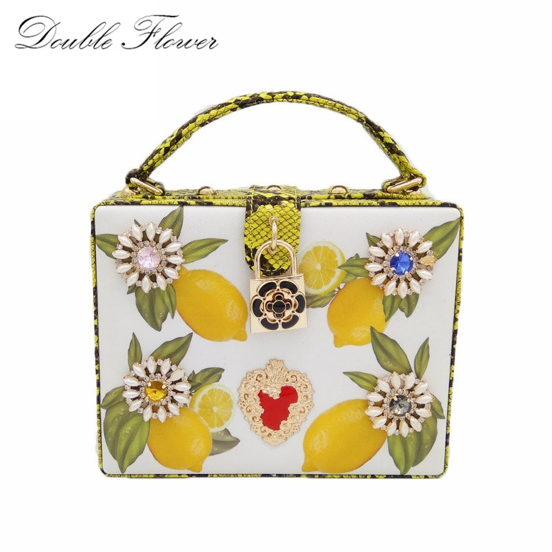 Crystal Flower Lemon Tree Print Serpentine PU Fashion Business Women  Shoulder Bags Crossbody Bags Ladies Evening Party Totes Bag-in Shoulder Bags  from ... 6174a4965e3ca