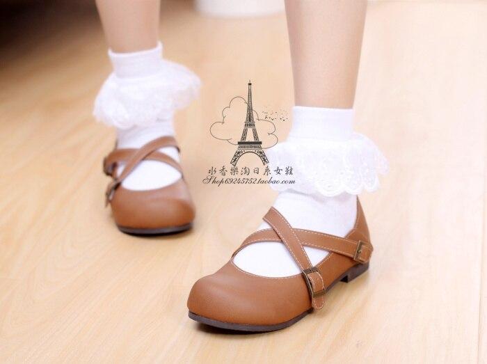 932e55085 Princess sweet lolita shoes Cute vintage round toe shoes Classic cross strap  student shoes Female hoof heelsf lats