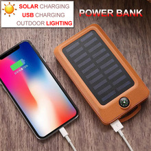 Mobile Power Bank 20000mAh Flashlight Solar Charging USB Portable Camping LED Light Outdoor Hanging Lantern With Compass Phone solar mobile power camping light ultra thin solar charging po 8000 10000 ma led flashlight