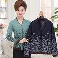 Falso de Dos Piezas Chaqueta de Punto 2016 del Resorte de Mediana Edad Madre Tamaño Grande Tejer ropa de Las Mujeres Con Cuello En V Manga Larga suéter G59