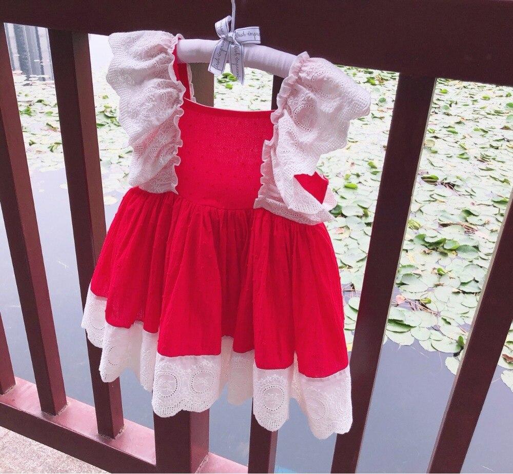 Roimyal Wholesale Classic open back big bow dress milk cotton Jacquard pattern pure cotton toddler kids
