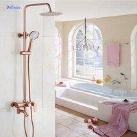 Dofaso роскошные розовое золото медь смеситель для душа Ванная комната антикварный набор для душа 8 Тропический Душ Набор для ванны латунь сме