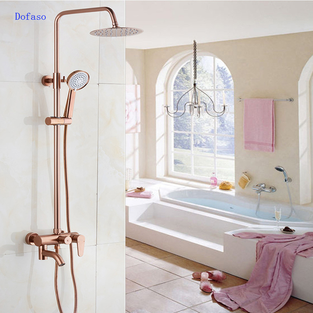 "Dofaso luxury Rose Gold copper shower faucet Bathroom antique Shower Set 8"" Rainfall shower kit bath brass shower mixer"