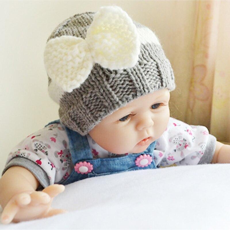 Zimske novorojenčke srčkan lok za otroke dojenčke pletene klobučke dojenčka majico toplo kapo beanie toplo kapo za 0-24 mesece dojenčke XL97