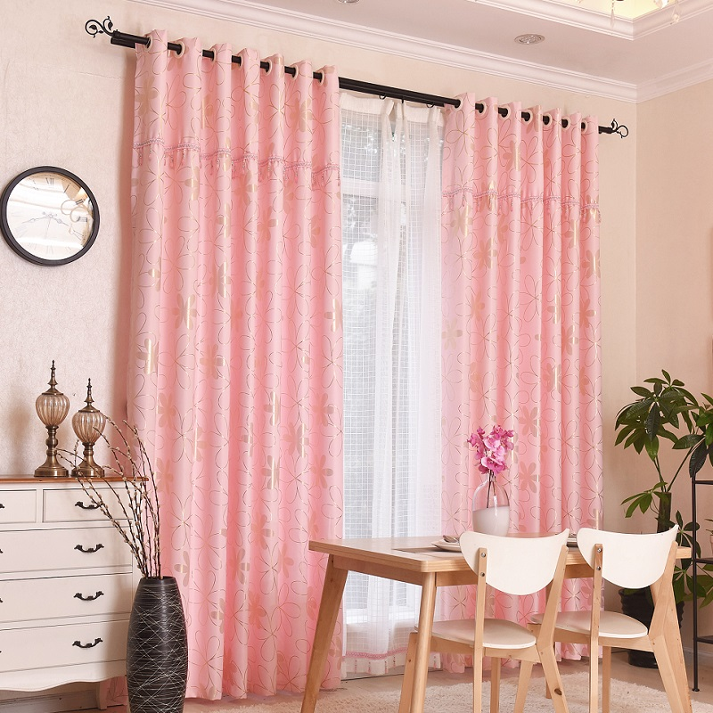 SunnyHouseware luxury fashion Beige and Pink print flower sheers and ...