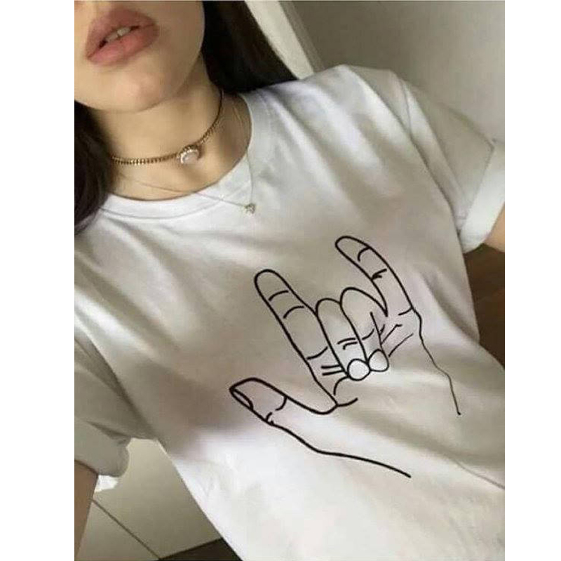ASL руки рубашка знак Язык Футболка I Love you прикольные футболки унисекс рок k поп Tumblr рубашка с saying-D230 девочек популярные футболки