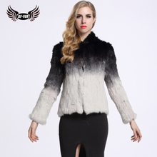 BFFUR Knitted Rabbit Fur Coat Winter Women Fur Jacket Female Outerwear Coats Short Fashion Genuine Natural Thick Fur BF-C0014