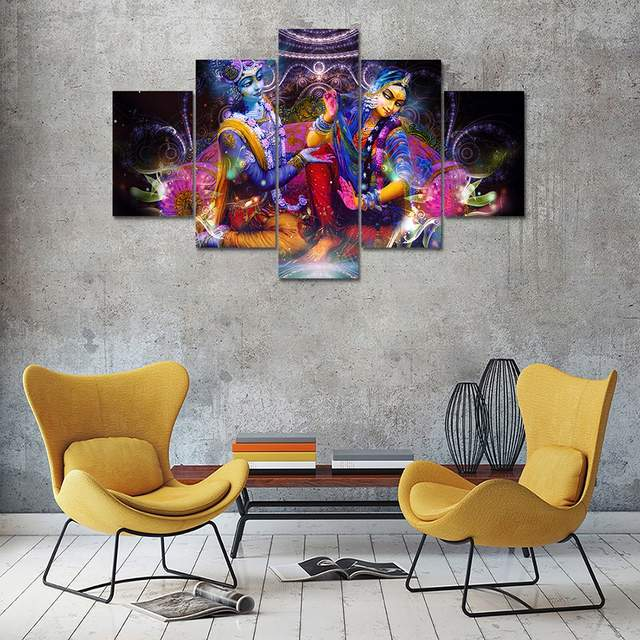 Us 20 0 5 Panel Hd Printed Canvas Painting Radha Krishna Canvas Print Art Modern Home Decorative Wall Art Picture For Living Room F1205 In Painting