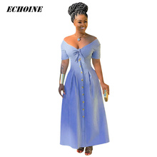 2019 Summer Dress Women Striped Print Shirt Maxi Dress Bow Tie V-neck Bohemian Femme robe Elegant Slim Vestidos Bohe Long Dress foliage print self tie shirt dress