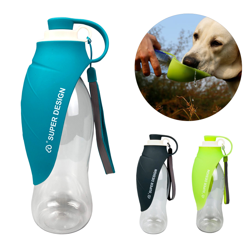 580ml Portable Pet Dog Water Bottle Soft Silicone Leaf Design Travel Dog Bowl For Puppy Cat Drinking Outdoor Pet Water Dispenser