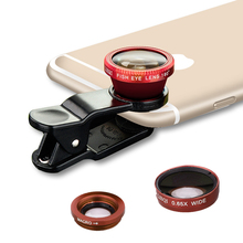3 in 1 Wide Angle Fisheye Lens Smartphone Camera Lenses Universal Mobile Phone Lenses Fish Eye Lentes For iPhone 6 7 For Samsung