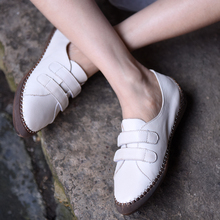 Artmu White Shoes Female Spring Hook and Loop Deep Mouth Women Soft Sole Four Seasons Shoe Heightening Leather Flats 1931