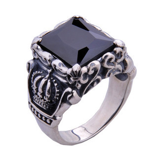 925 Sterling Silver Knight Crown Ring Jewelry Gift Men's Black Stones Ring Free Shipping Wholesale the vampire diaries vampire knight crown ring jewelry gift men s ring gift jewelry 925 sterling silver ring