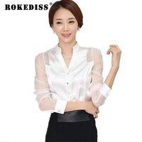 Transparente manga comprida de cetim Branco blusas mulheres 2017 primavera outono malha branca camisas formais desgaste do trabalho elegante tops TG327