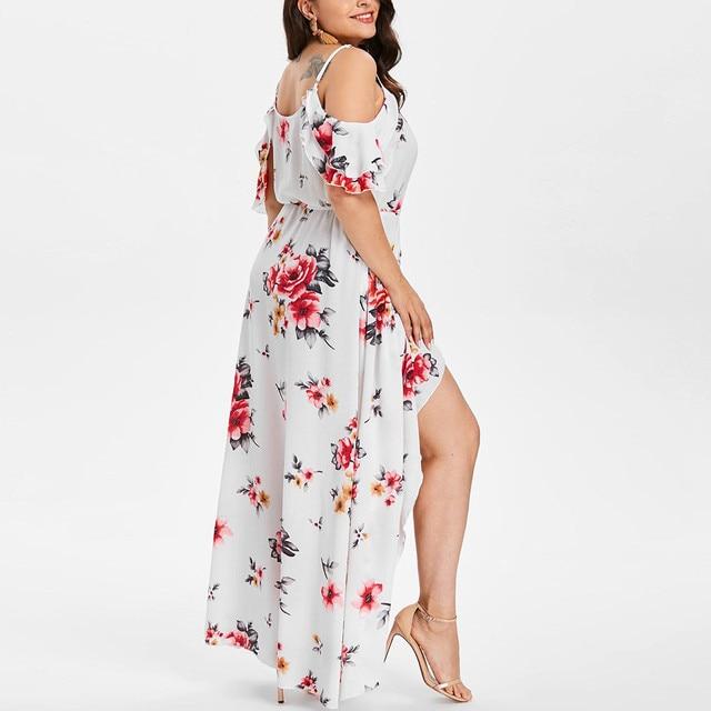 30h Plus Size Summer Dress Casual Short Sleeve Woman Dress Cold Shoulder Boho plus size Flower Print Long Dress платье robe 2