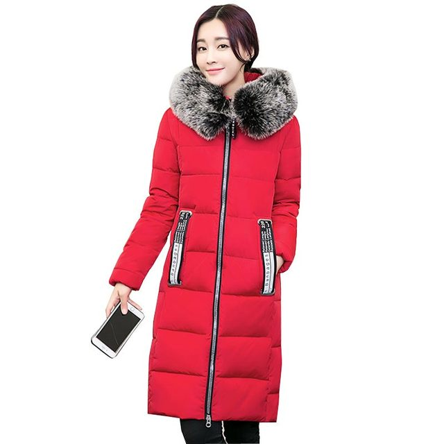 cotton coat winter women jacket 2016 newest long down parka hooded large fur collar outerwear loose thicken warm jacket KP1338