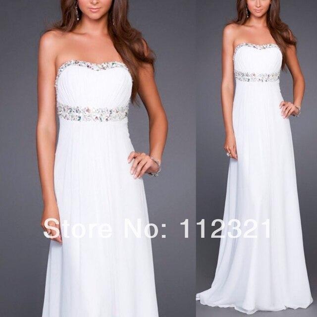 2014 nueva moda Stock lentejuelas Formal Wedding Party Prom vestido de cóctel de gasa Stock blanco y de marfil vestido caliente