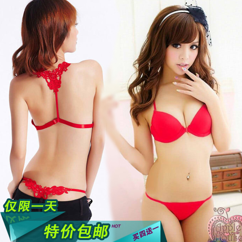 Thin Womens Push Up Bra Set Sexy Young Girl Front Button Bra Thong Underwear Set