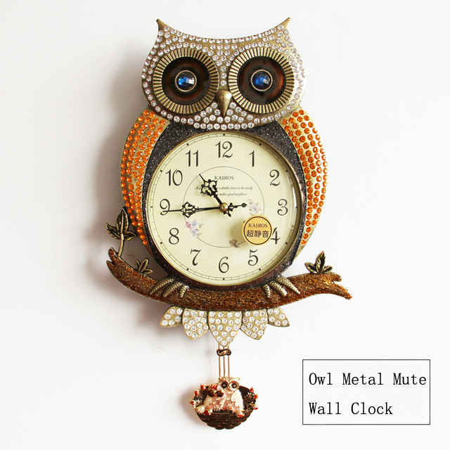 2017 modern design metal wall clock owl vintage rustic for Deco murale shabby chic