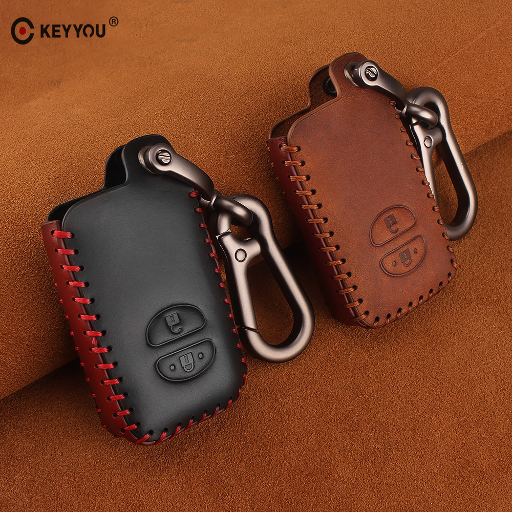 KEYYOU Leather Car Keychain 2 Buttons Key Case For Toyota Camry Crown Land Cruiser Prado 150 Prius Highlander Car Key Bag CoverKEYYOU Leather Car Keychain 2 Buttons Key Case For Toyota Camry Crown Land Cruiser Prado 150 Prius Highlander Car Key Bag Cover
