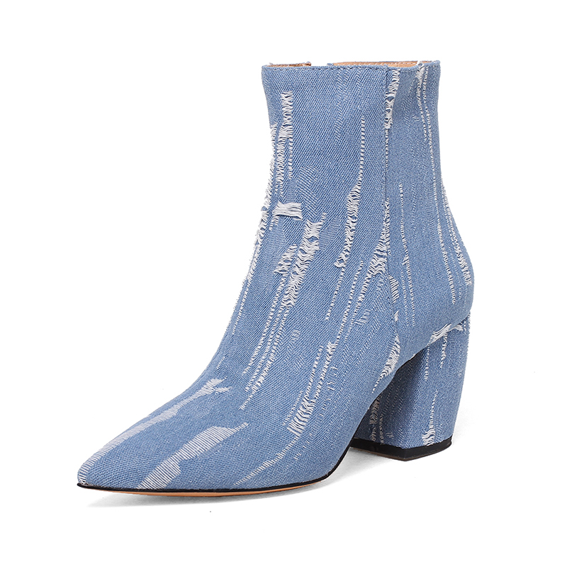 New Hot Pointed Toe denim boots women super high thin heels broken hole zipper girls boots blue rough selvedge shoes