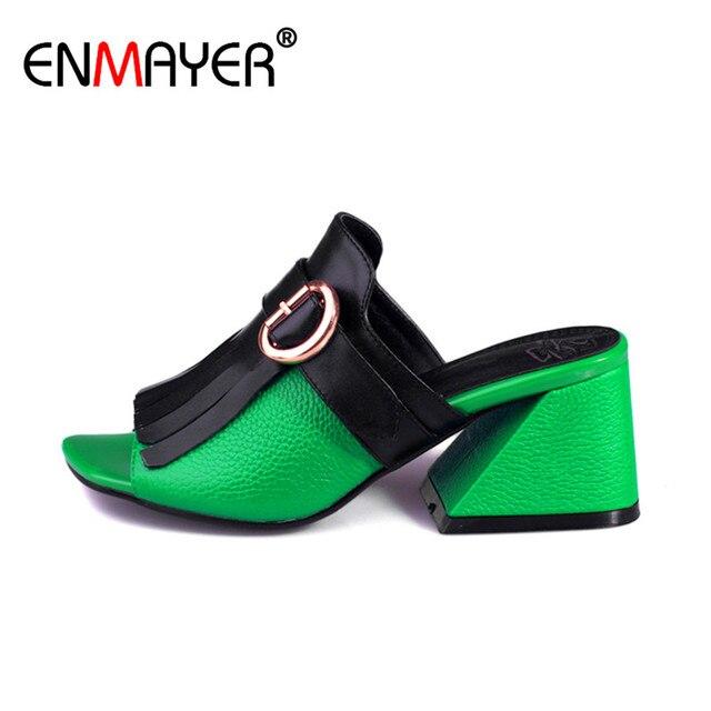 7bf3381deae5b Enmayer punta abierta slingback tacones altos mules zapatos verano de las  mujeres de cuero genuino mujeres