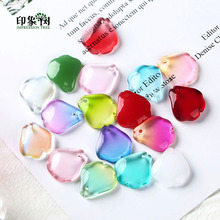 Crabapple Flower Petal Lampwork Beads Gradient Color 10pcs 14x16mm Glass Handmade For Necklace DIY Jewelry Making 16032