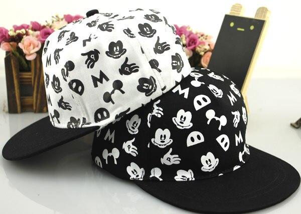 Prix pour 2016 Se Sont Précipités Caractère Chapeaux Nouvelle Version Coréenne de La Bande Dessinée de Enfants Mickey Chapeau Hip Hop Casquette de baseball Plat Le Long de