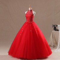 Backlackgirl Fashion New Ball Gown Tulle With Beads Red Corset Lace Halter Long Quinceanera Dress Vestido Debutante With Stones