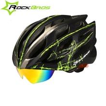 Rockbros Cycling Helmet Men Women Goggles MTB Road Bike Helmet Ultralight Intergrally-molded Safe Bicycle Helmet 3 Pairs Lens